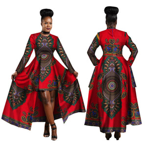 Hitarget African Dresses for Women Dashiki Cotton Wax Print Batik Sexy Long Dress for Femal Traditional clothing