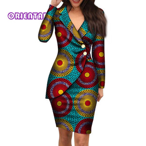 African Dresses for Women Fashion Office Style V-neck Long Sleeve Midi Dress Bazin Riche African Print Clothing WY4052
