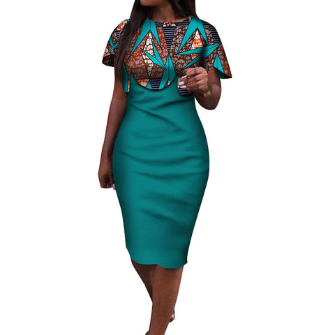 2019 Summer African Dress for Women Africa Bazin Riche Print Spliced Bodycon Elegant Mid-Calf Lady Women Midi Dress WY3932