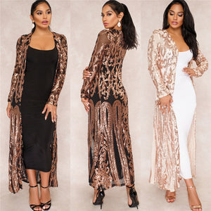 BAIBAZIN New Cloak of the coat African riche bazin dress for women Sexy Sequins Perspective Cardigan Cloak of the coat