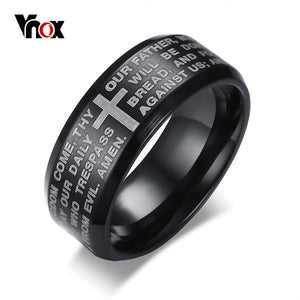 Vnox Engraved Bible Cross Ring for Men 3 Colors Option Stainless Steel Stylish Prayer Male Jewelry US Size #7- #13