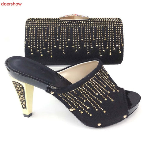 doershow new Shoes and Bag Set African Sets 2019 black Color Italian Shoe Bag Set Decorated with Rhinestone High Quality!XS1-5