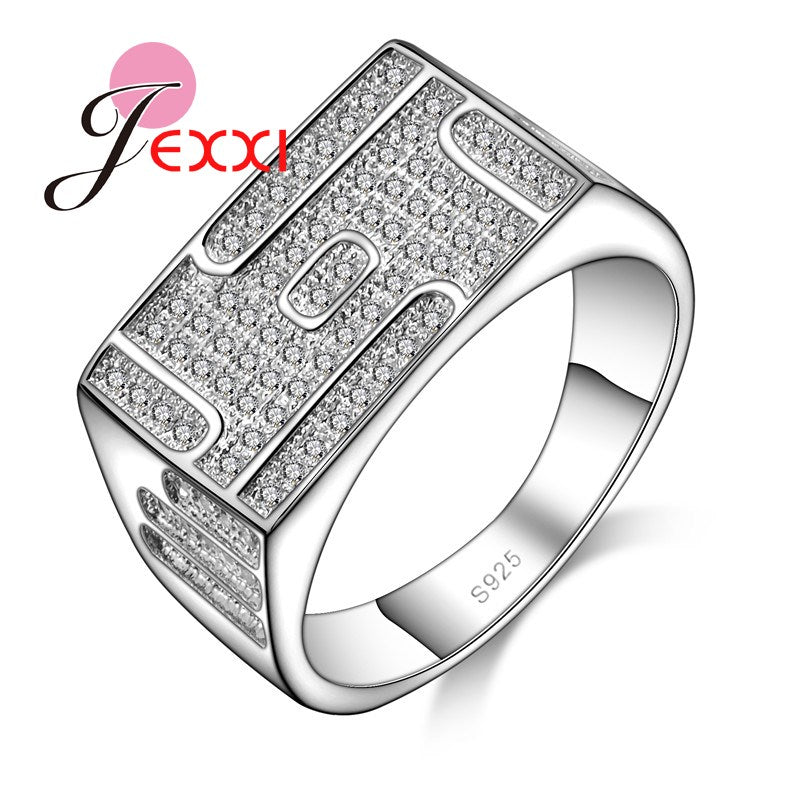 JEXXI New Style Fashion 925 Sterling Silver Couple Ring Women Men Cubic Zirconia White Stone Rings African AAA Crystal Bijoux