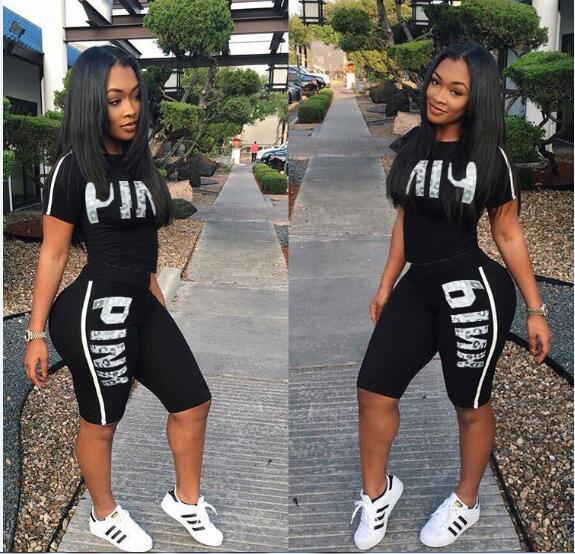 RAISEVERN Hot Letter Print 2 Piece Set Women Summer Two Piece Tracksuit Short Sleeve Top and Knee Length Shorts Casual Outfit