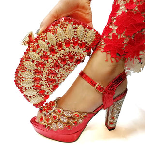 Red Italian Shoes with Matching Bag for Woman Italian Shoes and Bag Set High Quality African Wedding Shoe and Bag