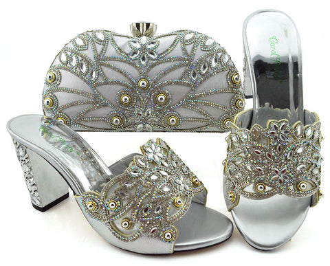 Big Pumps Shoes And Bag Silver African shoes and bag set for party Italian shoes with matching bag design ladies bag with stones