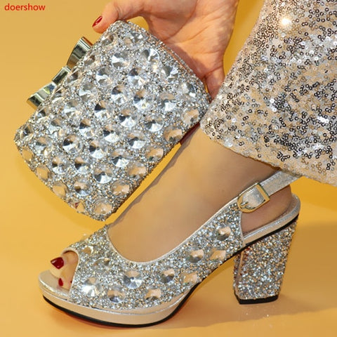 doershow Nigerian Party silver Shoe and Bag Sets Italian Shoes and Bags Set for party African Matching Shoes and Bags! SXX1-34