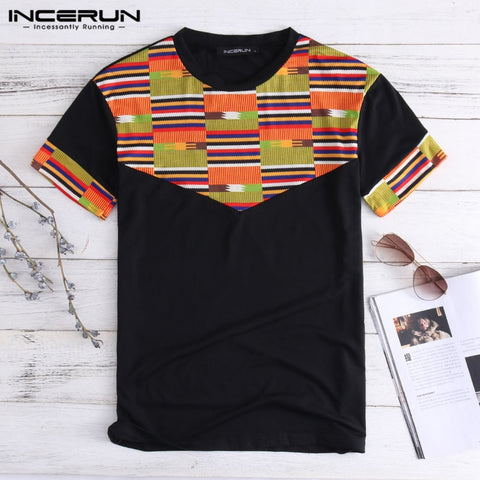 Folk Unisex Men T-shirt African Traditional Dashiki Men Clothes Tee Tops Short Sleeve Crew Neck Masculina Chinese Style Camisa