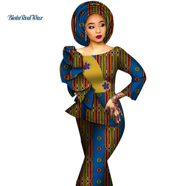 African Dresses for Women Print Draped Straight Long Dresses Vestidos Bazin Riche African Ankara Dresses Clothing WY4291