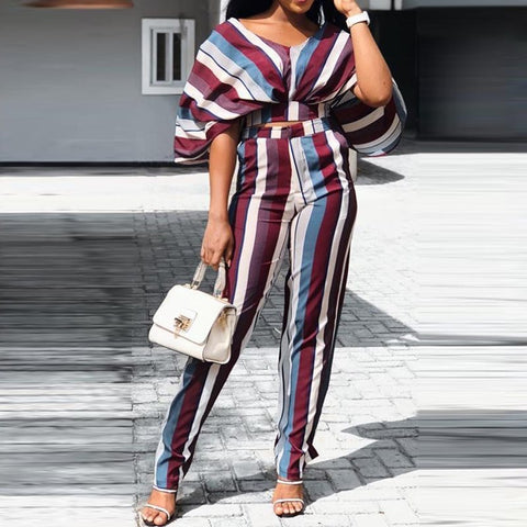 Elegant Summer Party Vintage African Women Two Piece Sets T-Shirts Wide Legs Pants Stripe Office Lady Print Female Fashion Suits