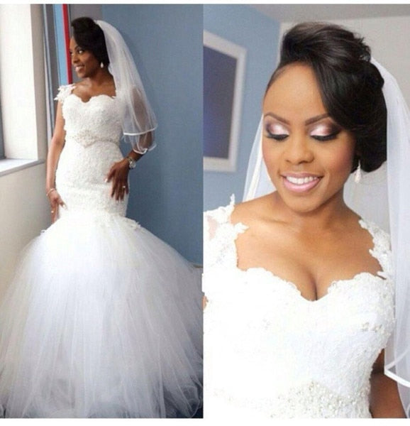 Nigerian Mermaid Wedding Dresses Plus Size Sweetheart Lace Tulle Bridal Gowns Appliques Beaded Sashes African Bride