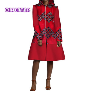 African Clothes Women Casual Long Sleeve Hooded Trench Coat African Wax Print Zipper Long Coat Lady Overcoat Dress