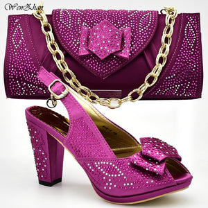 Newest High Heel Shoes and Bag Set for Party Fuchsia Color Elegant Style Women Matching Shoes and Bags for Wedding Party D811-27