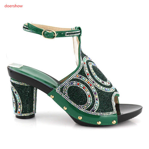 doershow Top Quality Italian Shoes And Bag Set With Stone 2018Hot Style African Woman Sandals Heels With Bag Free Shipping UP1-1