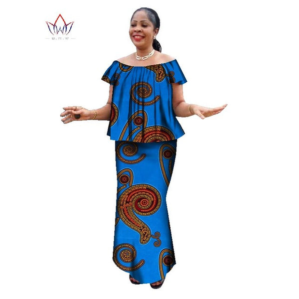 summer womens african plus size clothing skirt set o-neck traditional african clothing short sleeve work dress natural WY1357