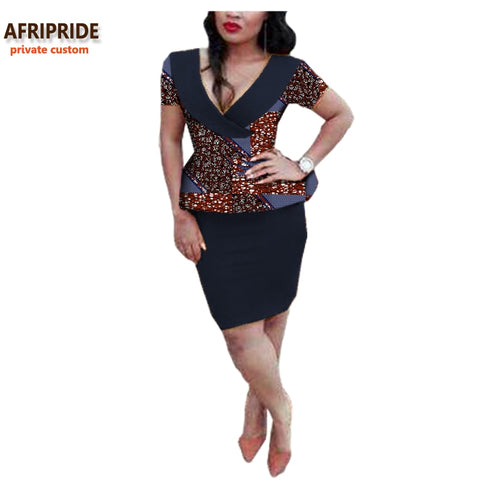 2019 african women two-piece suit AFRIPRIDE private custom short sleeve deep V-neck top and midi pencil skirt pure cottonA722616
