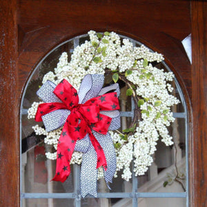Game Day White Berry Wreath with Signature Team Triple Bow