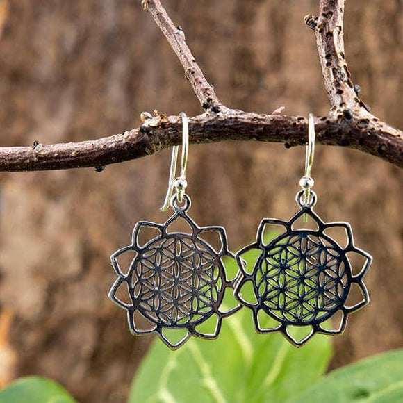 Hanging Earrings Mandala 925s Silver