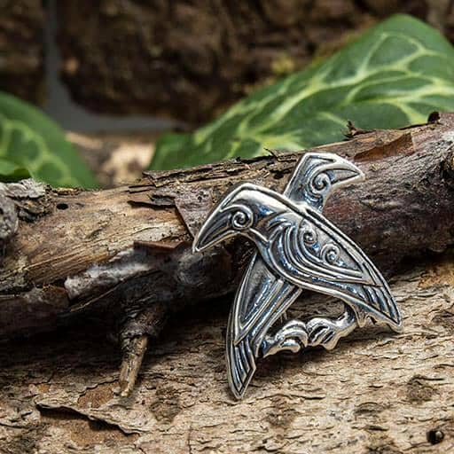 Brooch Hugin and Munin 925's Sterling Silver