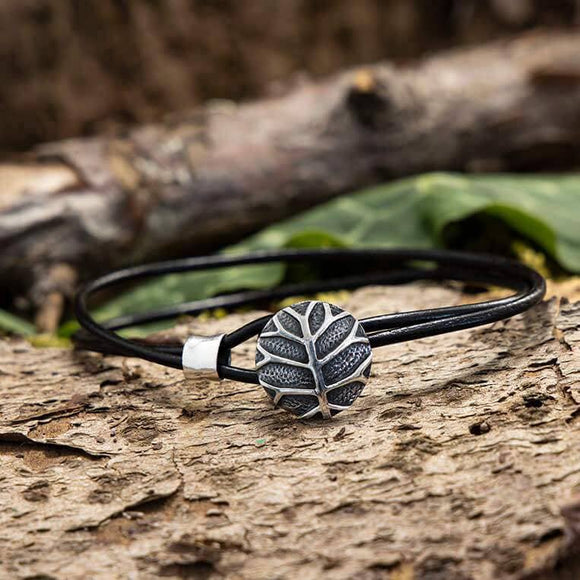 Bracelet Leather with Silver closure Yggdrasil Life's Tree 925s Silver