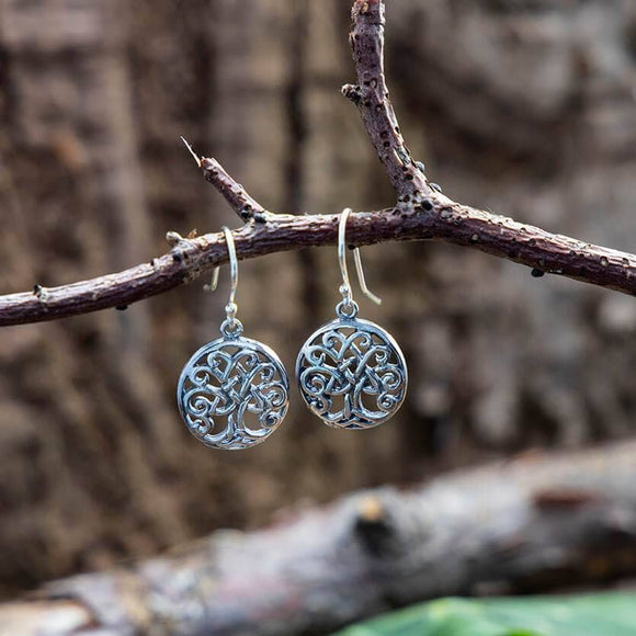 Hanging Earrings Yggdrasil Tree of Life Knot 925s Silver