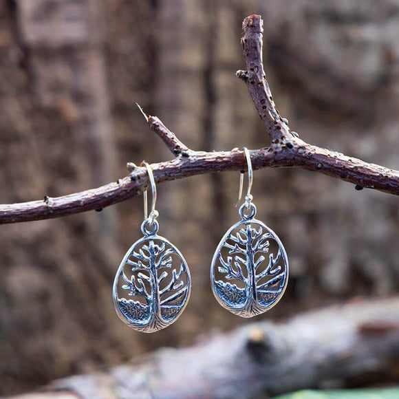Hanging Earrings Yggdrasil Life's Tree Drop 925s Silver