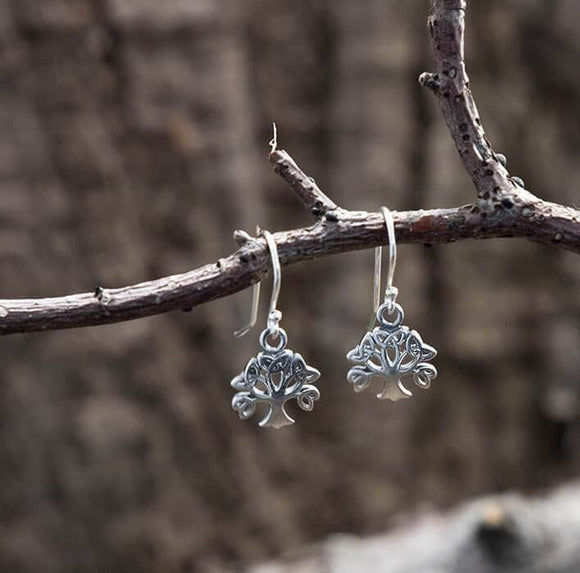 Hanging Earrings Yggdrasil The Tree of Life 925s Silver