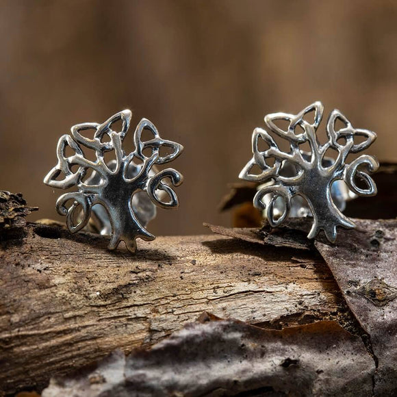 Ear Studs Life Tree Braid 925s Silver