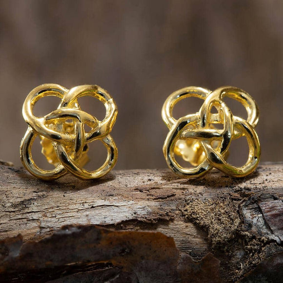 Celtic Stud Earrings Gold Plated 925s Silver