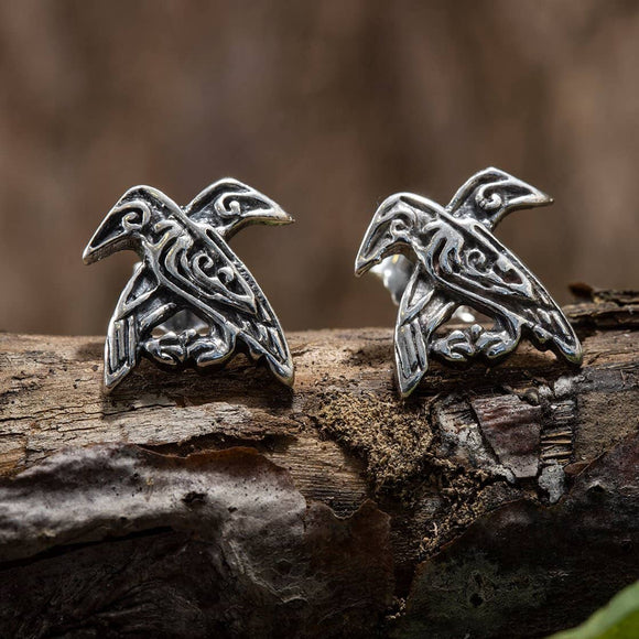 Stud Earrings Hugin and Munin 925s Silver