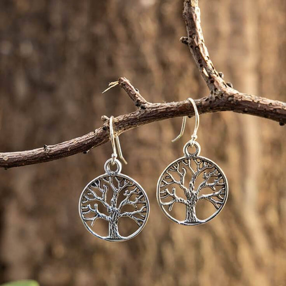 Hanging Earrings Yggdrasil Tree of Life Large 925s Silver