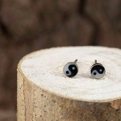 Ear Studs Yin and Yang 925s Silver
