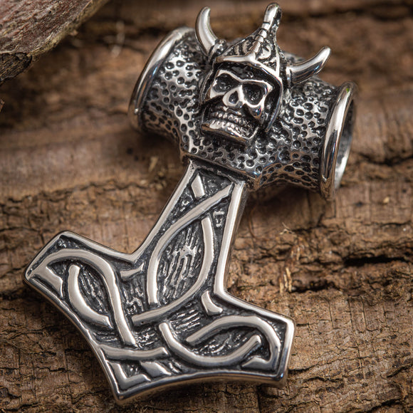 Thor's Hammer Pendant with Skull Steel