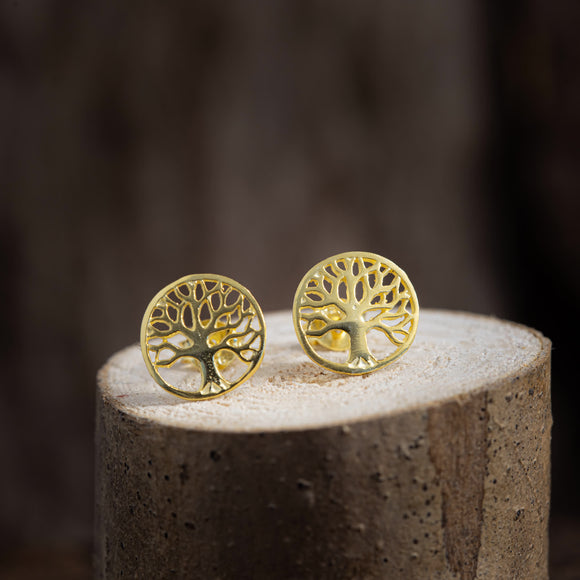 Ear Studs Yggdrasil Tree of Life Gold Plated 925s Silver