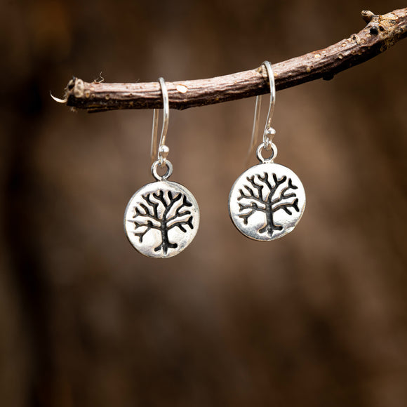 Hanging Earrings Yggdrasil Life's Tree Plate 925s Silver