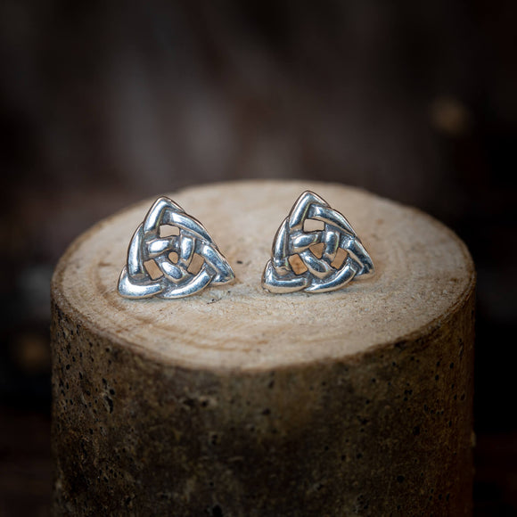 Celtic Button Studs Triad Braid 925s Silver