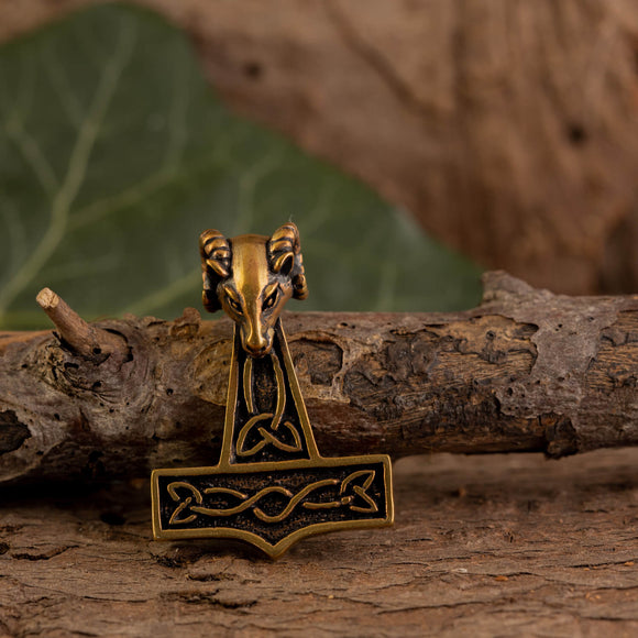 Thor's Hammer Pendant Bronze with Aries Head