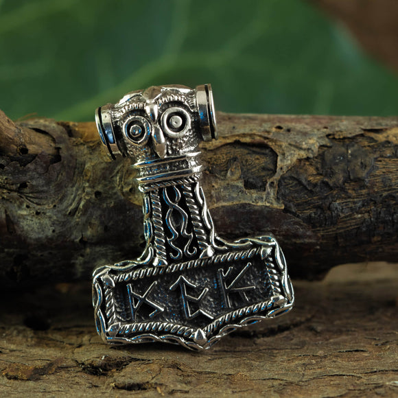 Thor's Hammer Pendant 925s Silver with Runes