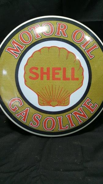 Shell Gasoline Metal Clamshell Domed Button Sign