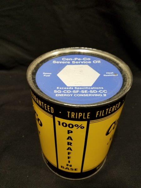 1960-1970s Cen-Pe-Co Super Refined Full One Quart Metal Oil Can