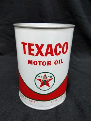 1960s Texaco Motor Oil Full One Quart Metal Can