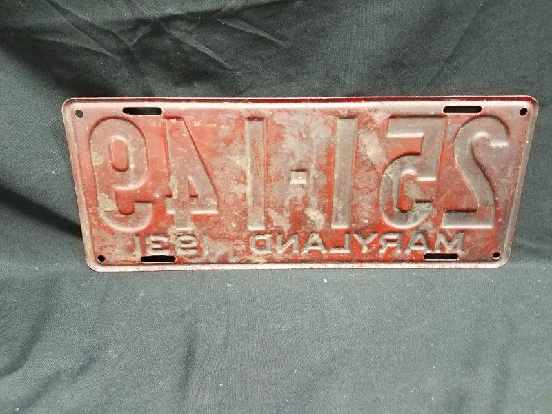 1931 Maryland License Plate