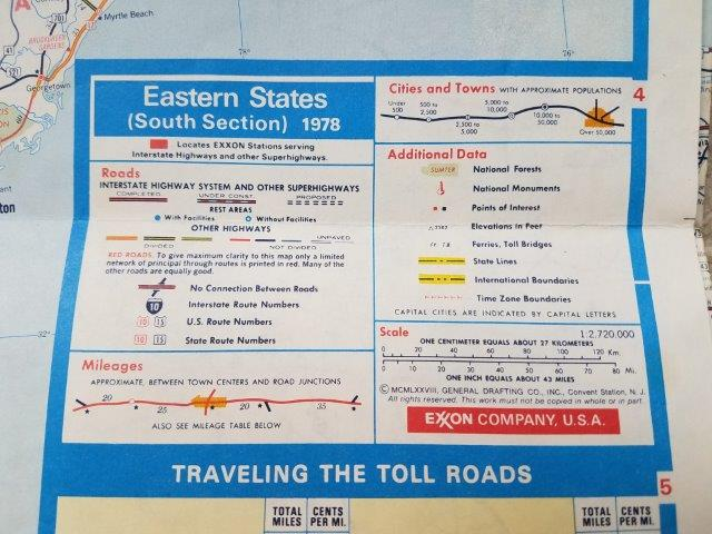 1978 Exxon Eastern US Road Map
