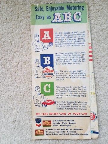 1954 Chevron RPM Motor Oil Idaho Road Map