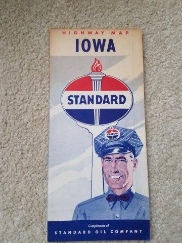 1950s Standard Oil Iowa Road Map