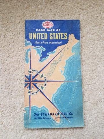 1950s Standard Oil Sohio Road Map of US East of Mississippi