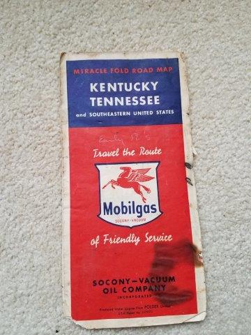 1950s Mobilgas Kentucky, Tennessee, & Southeast US Road Map