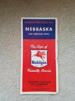 1950s Mobilgas Nebraska & Adjoining States Road Map