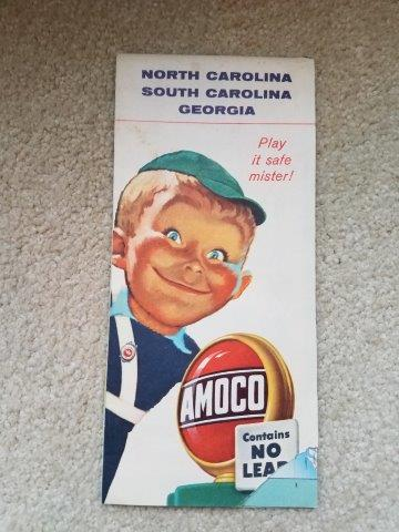 1957 Amoco North Carolina, South Carolina, & Georgia Road Map