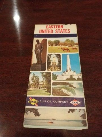 1970-1971 Sunoco Sun Oil Company DX Eastern US Road Map